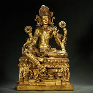 TIBETAN GILT-BRONZE BUDDHA STATUE,QING DYNASTY