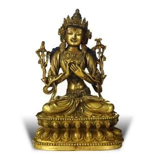 A GILT-BRONZE BUDDHA STATUE,MING DYNASTY