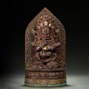 ZITAN WOOD BUDDHA STATUE,QING DYNASTY