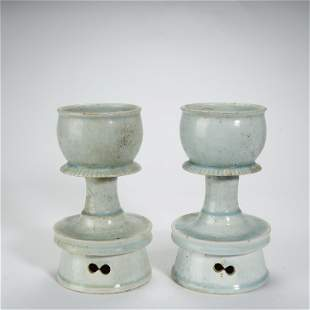 SONG DYNASTY,A PAIR OF SKY BLUE GLAZED OIL LAMPS