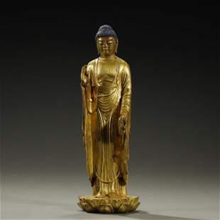 A FILT-BRONZE BUDDHA STATUE,MING DYNASTY