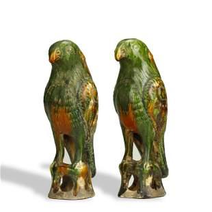 TANG DYNASTY,A PAIR OF SANCAI-GLAZED POTTERY BIRDS