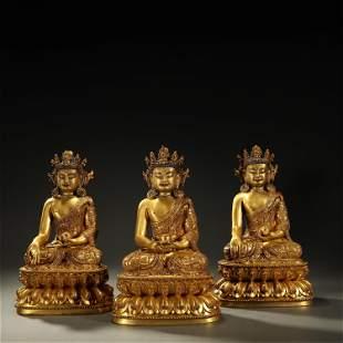 A SET OF GILT-BRONZE BUDDHA STATUE,QING DYNASTY