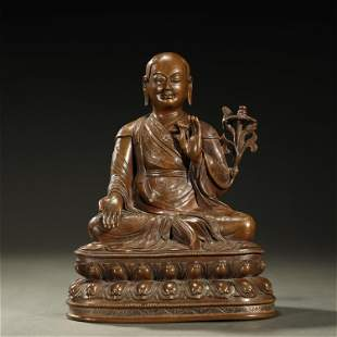 A FINE SILVER-INLAID BRONZE BUDDHA STATUE,QING DYNASTY