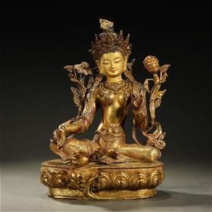 A FINE GILT-BRONZE BUDDHA STATUE,QING DYNASTY