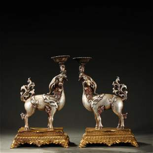 A PAIR OF PARCEL-SILVER BRONZE OIL LAMPS,QING DYNASTY