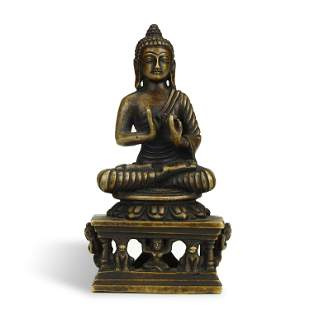 OLD TIBETAN ALLOY BRONZE BUDDHA STATUE,QING DYNASTY