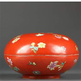 QING DYNASTY,CORAL-RED GROUND FAMILLE-ROSE BOX