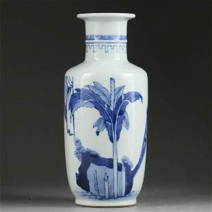 QING DYNASTY,BLUE AND WHITE FIGURE VASE