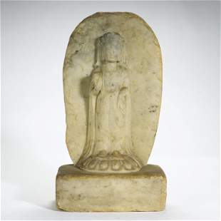 ANCIENT CHINESE,MARBLE CARVED BUDDHA STATUE