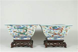 A Fine Pair Of Chinese Wucai