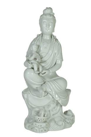 A Chinese White Porcelain Glazed GuanYin Figures