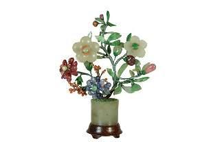 Chinese Jade Tourmaline Jadeite Coral Flower Planter