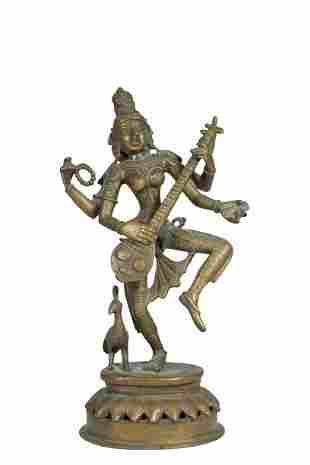 South India Bronze Vinadhara Shiva Standing Statue