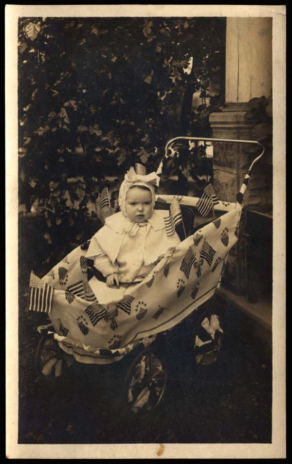 1238: Baby Buggy With Flags