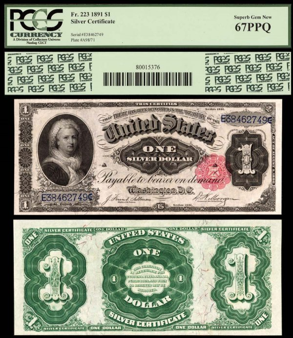 5E: Silver Certificates  Fr. 223    $1    1891  Exquisi