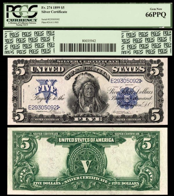 21E: Silver Certificates  Fr. 274    $5    1899  After