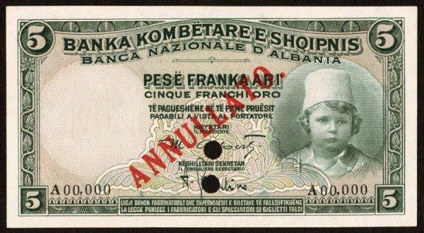 1: Albania   BancaNazionaled'Albania   2s5Fran