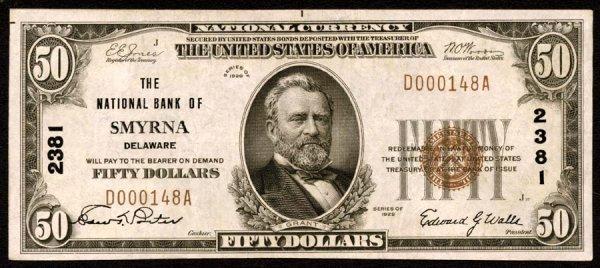 1811: Delaware   Smyrna,NB,2381   Fr.1803-1$50