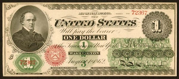 1:     Legal Tender     Fr. 16    $1    1862     A very