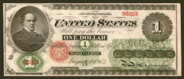 5: Legal Tender     Fr. 17a    $1    1862     A well pr