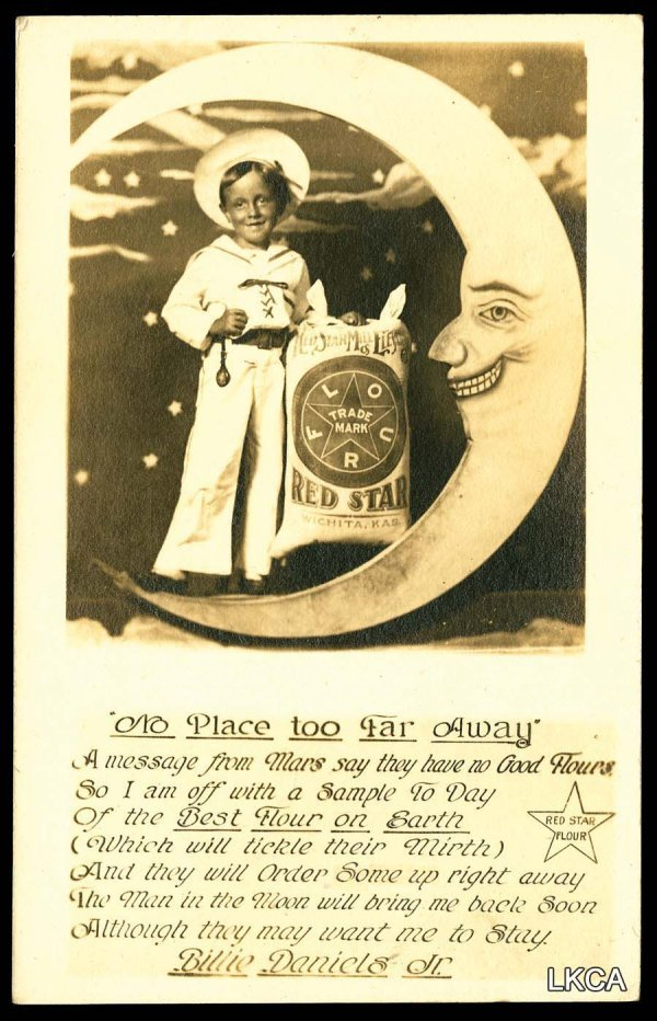 1: Early     RPPC Wichita KS Paper Moon Advertising  Re