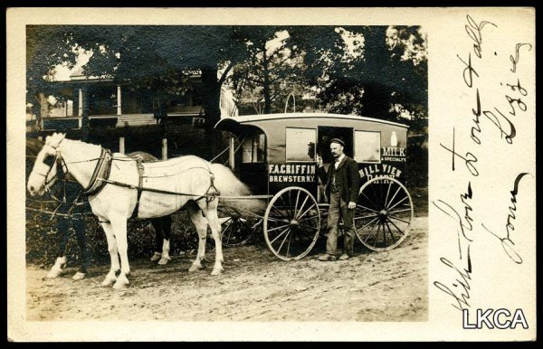 14: RPPC Postcard Horse Drawn Milk Wagon Brewster N.Y.
