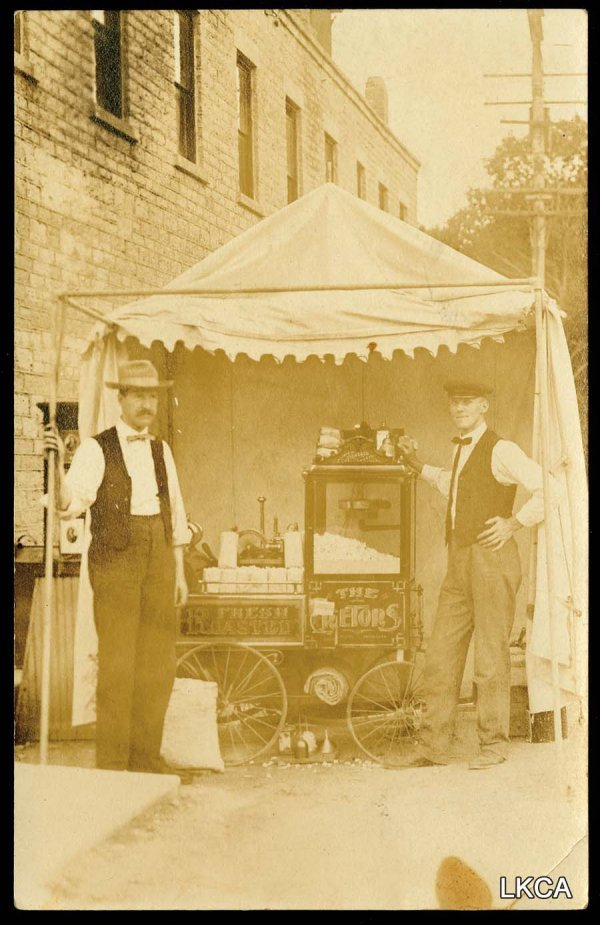 24:     RPPC Popcorn Wagon, Cretors Sign on Side     Gr