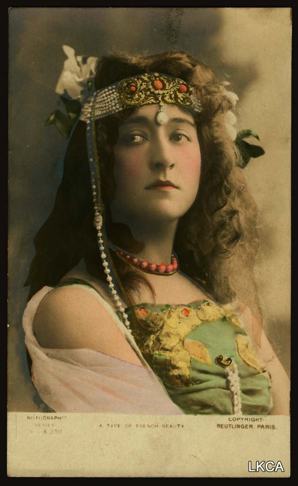 "1446:     RPPC French Beauty     Color Rotograph. ""A Ty"