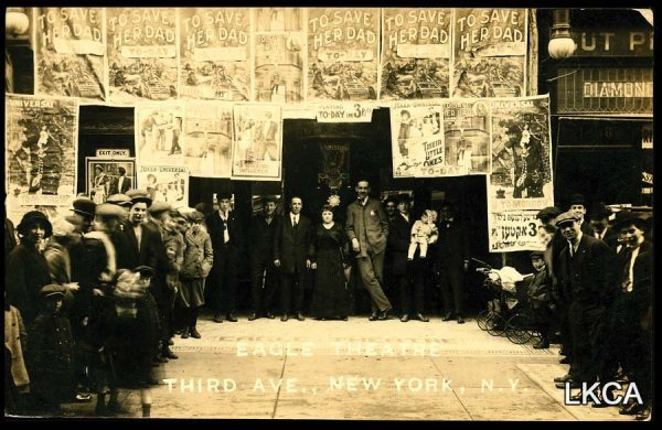 1627:     RPPC Postcard Eagle Theater, Third Ave, New Y