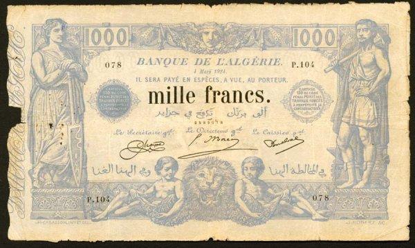 1001: Algeria, Banquedel'Algerie, 76b?1000Fran