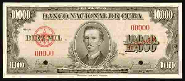1240: Cuba�, Banco�Nacional�de�Cuba�, 85s����10,000�Pes