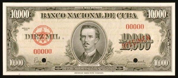 1240: Cuba, BancoNacionaldeCuba, 85s10,000Pes