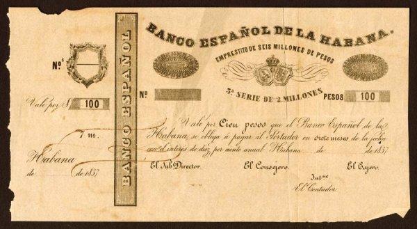 1247: Cuba, BancoEspanoldelaHabana, NL100Pes