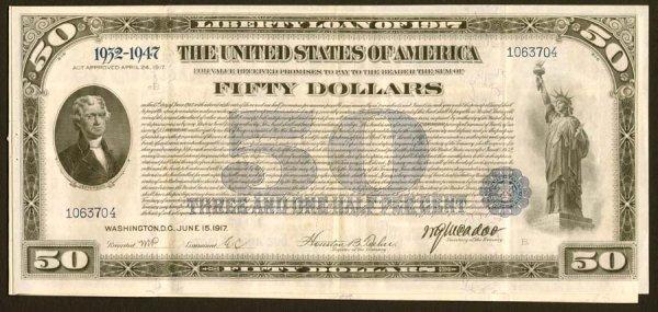 2001: $50FirstLibertyLoanBondof1917