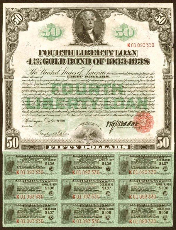 2003: $50FourthLibertyLoanGoldBondof19184