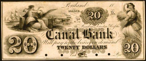 3143: Maine    $20CanalBank,Portland1850s