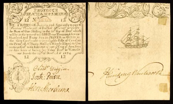 4001: New Hampshire , 12 Pence    Dec. 25, 1734