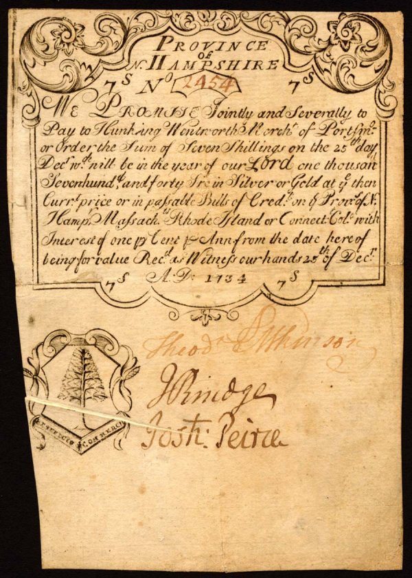 4002: New Hampshire , 7 Shillings    December 25, 1734