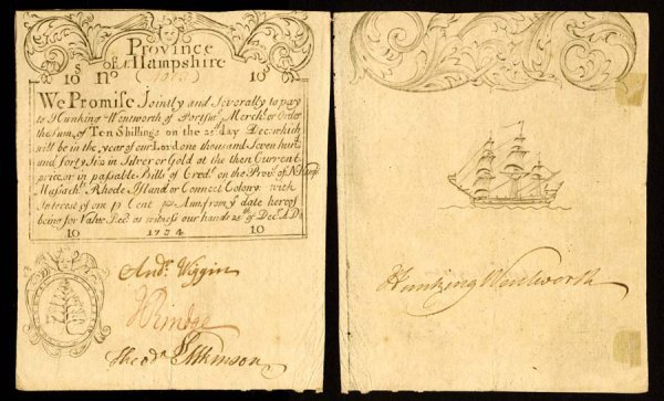 4003: New Hampshire , 10 Shillings Merchant's Note    D