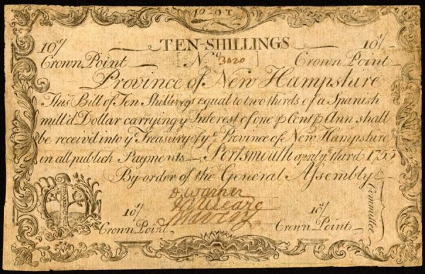 4005: New Hampshire , 10 Shillings    April 3, 1755
