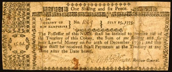 4006: New Hampshire , 1 Shilling 6 Pence    July 25, 17