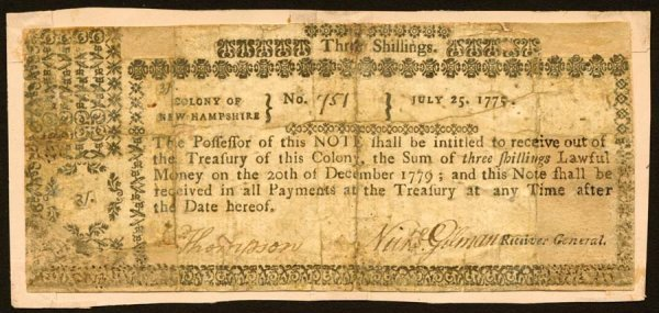 4007: New Hampshire , 3 Shillings    July 25, 1775