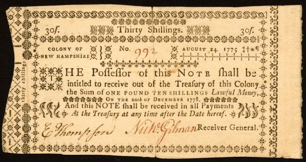 4008: New Hampshire , 30 Shillings    Aug. 24, 1775