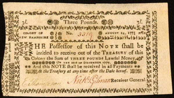 4010: New Hampshire , 3 Pounds    Aug. 24, 1775