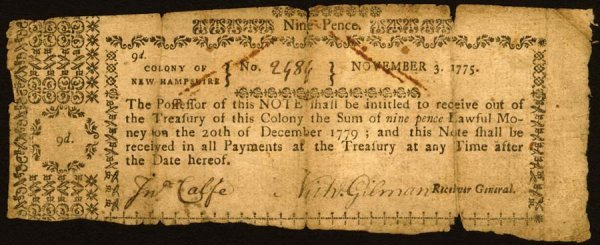 4011: New Hampshire , 9 Pence    Nov. 3, 1775