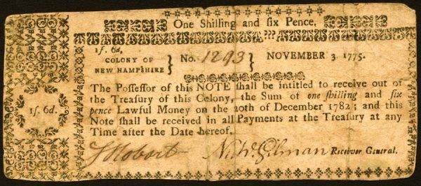 4012: New Hampshire , 1 Shilling 6 Pence    Nov. 3, 177