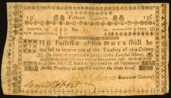 4013: New Hampshire , 15 Shillings    Nov. 3, 1775