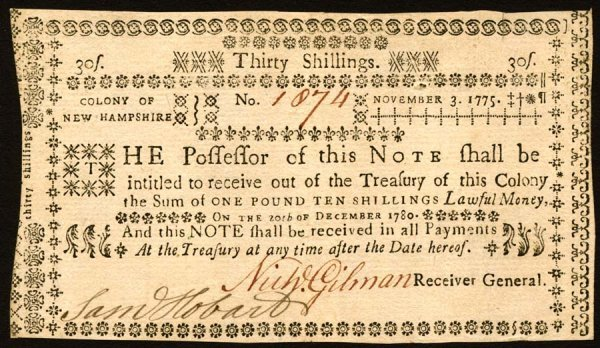 4014: New Hampshire , 30 Shillings    Nov. 3, 1775