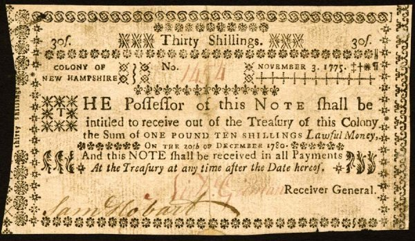 4015: New Hampshire , 30 Shillings    Nov. 3, 1775